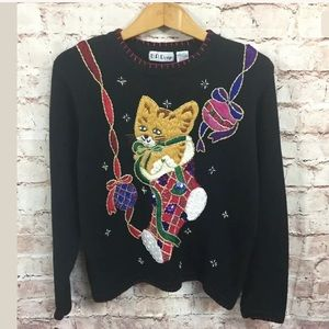 Sweaters - Cat Ugly Christmas Sweater Large Vtg Tacky Funny